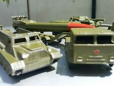 VINTAGE TANK TRUCK ROCKET LAUNCHER LOT SET TOYS MILITARY EQUIPMENT TRANSPORTERS