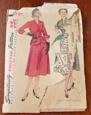 Vintage 1940's 50's Two Piece Peplum Dress Simplicity Sewing Pattern Bust 35