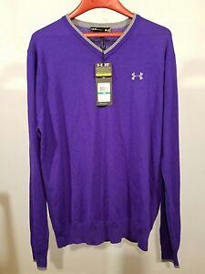 Under Armour Merino Wool V-Neck Sweater Men's Golf Shirt $100 Purple & Gray Sz M