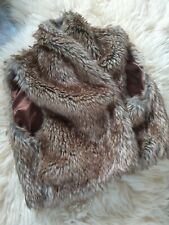 Ladies Faux Fur Therapy Shrug Jacket Size Small Brown used good condition