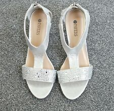 New Pavers Shoes Womens Embellished Silver Zip Back Open Toe Wedding Party 4