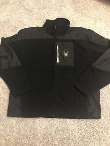 Spyder Men's Vintage Black Full Zip Fleece Jacket Medium