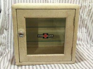 Vintage Art Deco MCM Barber Shop Speckled Paint Wood & Glass Sterilizer Cabinet