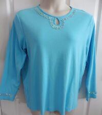 QUACKER FACTORY Aqua Long Sleeve Knit Top Sz L