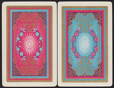 2 Single VINTAGE Swap/Playing Cards US ART DECO for 'BRENTANO'S Roses & Gold Det