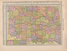 1909 MAP ~ OKLAHOMA STATE WITH COUNTIES CITIES-TOWNS OSAGE PUSHMATAHA BRYAN