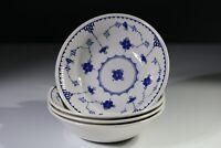 """Masons Denmark 4 Cereal Bowls - 6 5/8"""" or 17 cm - Soup, Dessert - Blue"""