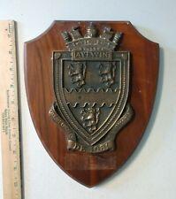 Vintage Uss Aylwin De 108 Plaque Brass / Bronze on Wood - Us Navy Ship