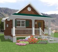 Affordable House Tiny Home Blueprints Plans 1 bedroom Cottage Cabin 518 sf PDF