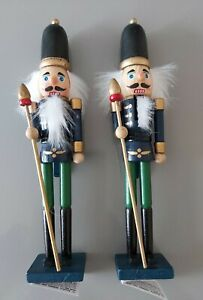 X2 Wooden Nutcracker Christmas Decorations. 23cm Tall Free Standing Decorations