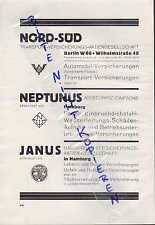 BERLIN HAMBURG Werbung 1928 Nord-Süd Neptunus Janus Versicherungs-AG Assecuranz