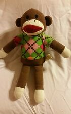 "15"" Dan Dee Sock Brown Monkey in multicolor sweater Plush Knit and Soft Toy"