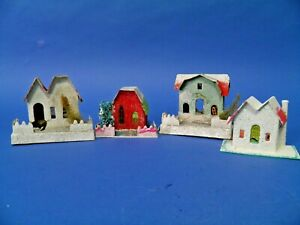Vintage Putz Cardboard Christmas Village Houses