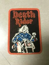 Vintage Velvet Iron On Patch Anthrax Death Rider Multi Colored Motorcycle Skull