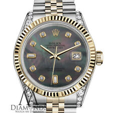 Woman's Rolex 26mm Datejust 2 Tone Black MOP Mother Of Pearl with 8+2 Diamond