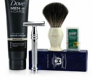 Men Shaving Set Black Badger Brush, Double Edge Safety Razor, Dove Cream + Blade