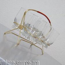 6er Set Trinkgläser im Träger für Saft Wasser etc. Rockabilly Ära 50er 60er J.