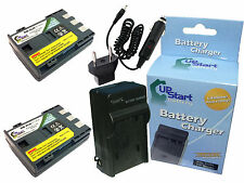 2x Battery +Charger +Car Plug +EU Adapter for Canon VIXIA HV40, ZR200, E160814