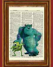 Monsters, Inc. Dictionary Art Print Picture Poster Mike Wazowski Sullivan Sulley