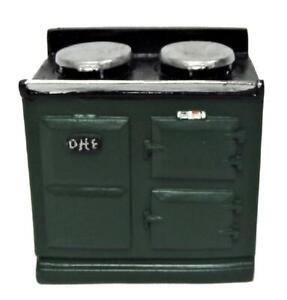 Dolls House 2 Oven Green Aga Stove 1:12 Cooker Miniature Kitchen Furniture