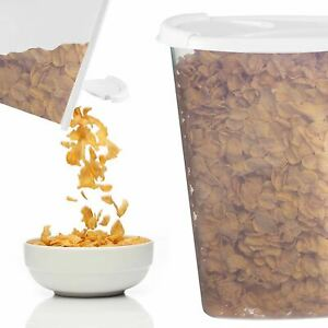 Clear/Ice White Plastic Food Cereal Dispenser Containers Flip Lid Easy Pour 2021