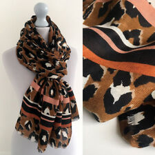 Large Leopard Print Scarf Brown Tan with Pink Striped Animal Big Long Cotton