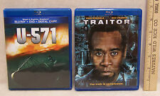 Blue Ray DVD Disc U-571 & Traitor Lot of 2 Movies Action Adventure