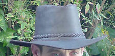 New, Rugged Black Leather Western Cowboy Hat for Action Shooting, beer drinking+