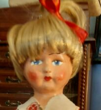 Antique 13-inch Papier Mache Head Doll In Antique 3-piece Ensemble-Extra Cute!
