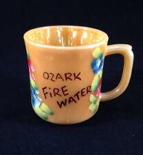 Vintage Peach Luster Fire King D Handle Coffee Mug Ozark MO Fire Water Floral