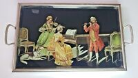 Vintage Serving Tray w Glass Display Gold Foil Art Victorian Scene Musicians