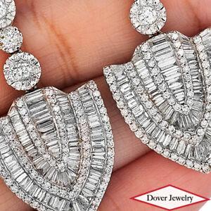 Estate 5.70ct Diamond 18K Gold Elegant Cluster Drop Earrings 16.4 Grams NR