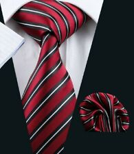 Designer Red with Black & Thin White Stripes Silk Tie & Matching Pocket Square