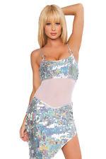 Pailetten Minikleid silber weiss Gr.36-38 Disco GoGo Show edel Kleid