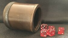 Vintage Brown Stamped Leather Dice Shaker Cup & 5 Red Dice Casino Gaming Games