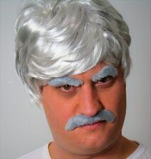 Grey Men's Fancy Dress Wig, Short Moustache  and Eyebrow set (Self adhesive) UK