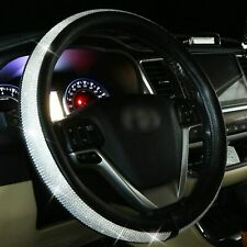 Diamond Leather Steering Wheel Cover for Women Girls with Bling Bling Crystal Rh