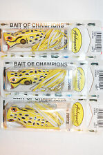 3 lures arbogast hula popper 3/8oz bass topwater fishing swamp yellow g760-506