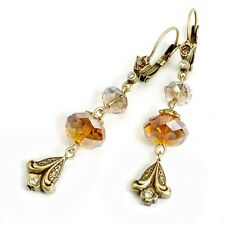NEW SWEET ROMANCE  LILY & TOPAZ CRYSTAL DANGLE LEVERBACK EARRINGS