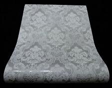 5006-31-) 6 Rollen moderne Vinyl Tapeten Ornament Design grau mit Glanz