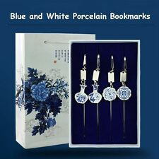 Blue And White Porcelain Bookmark Vase Dragon Phoenix Lotus Flowers Patterns