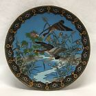 """Antique 12"""" Chinese or Japanese Cloisonné Charger Plate Platter Ducks Flowers"""