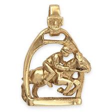 9ct Gold Jockey & Horse Jumping Through Stirrup Pendant (3g / Handmade UK)