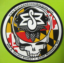 EASTERN SHORE BREWING, SKULL 4 inch Beer STICKER, Label, Saint Michaels MARYLAND