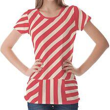 Red Stripe Women Top Shirt Blouse S M L XL 2XL