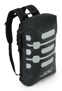 JDC Motorcycle Motorbike Rucksack 100% Waterproof Dry Bag 25L Hi-Vis - Black
