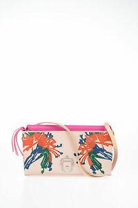 PAULA CADEMARTORI women Pink Leather Print Mini Clutch Handbag Shoulder Bag Pink