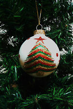 GLASS ORNAMENT CHRISTMAS TREE & STARS GLITTERED DECORATION ROUND GLASS STAINED W