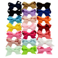 20PCS Baby Girls Hair Bows Boutique Alligator Clip Grosgrain Ribbon Hairpins AL