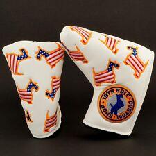 US Flag Dancing Scottie Dog White Blade Putter Head Cover, 19th Hole Custom Shop